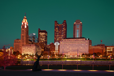 The Columbus, Ohio skyline at twilight