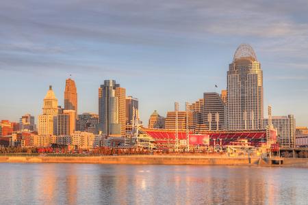A View of the Cincinnati skyline with Ohio River 写真素材