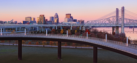 A Panorama of Louisville, Kentucky skyline at dawn Stock Photo