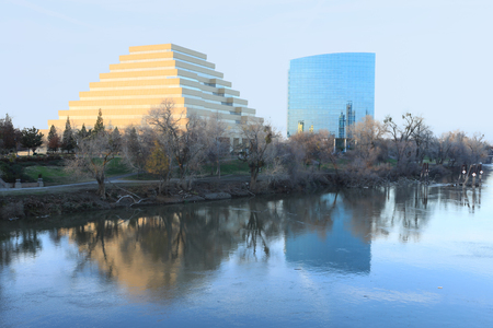 A View of colorful office building in Sacramento, California Stock Photo