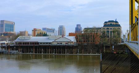 View of Old Sacramento from across Sacramento River in California