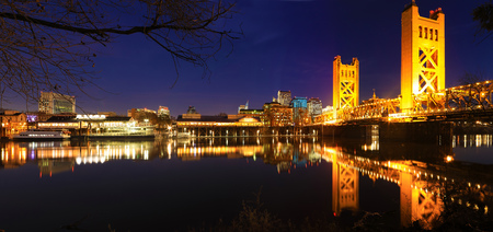 A Panorama of the Tower Bridge in Sacramento at night