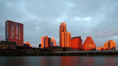 The Austin, Texas skyline glows at sunset