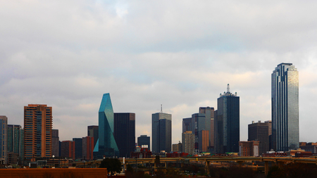 The skyline of Dallas, Texas during daylight 免版税图像