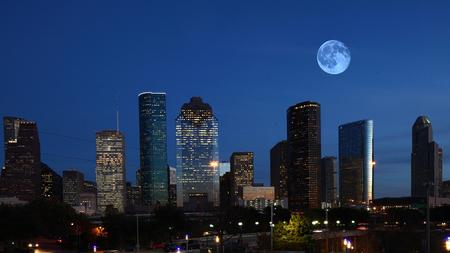 The Houston, Texas skyline with moon