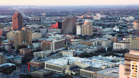An aerial of San Antonio city center at twilight Banco de Imagens