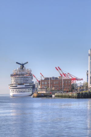A Vertical of of Cruise ship docked in Halifax, Nova Scotia harbour