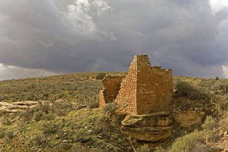 The Hovenweep National Monument remains of buildings 免版税图像