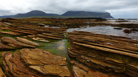 View of Warbeth Bay looking toward Hoy, Orkney Stock Photo