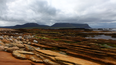 View of Warbeth Bay looking toward Island of Hoy, Orkney Stock Photo