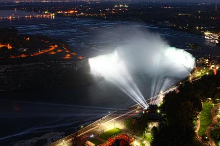 An aerial night view of Horseshoe Falls at Niagara Falls