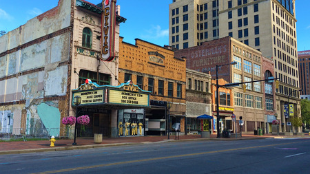 A Street scene with old Civic Theater in Akron, Ohio