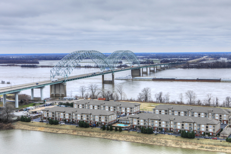 A View of Mississippi River barge at Memphis