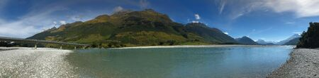 A Panorama view of tranquil mountain and sea New Zealand