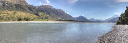 A Panorama view of mountain and sea New Zealand