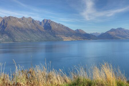 A Tranquil mountain and sea view New Zealand Stock fotó