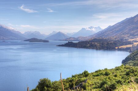 A Tranquil mountain and sea scene New Zealand