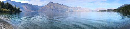 A Panorama of mountain and sea scene New Zealand Stock fotó