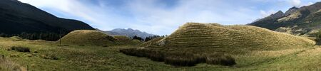 A Panorama scene mound formations New Zealand 写真素材