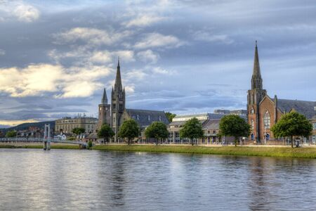 A Day view of Inverness, Scotland along the River Ness Stock fotó