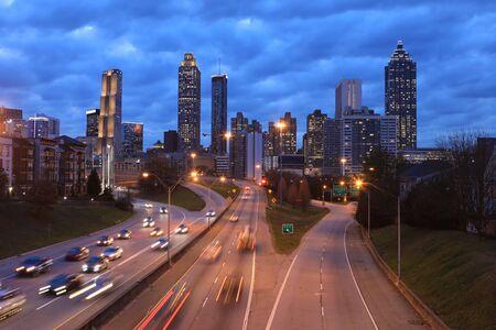 The Atlanta, Georgia skyline at sunset