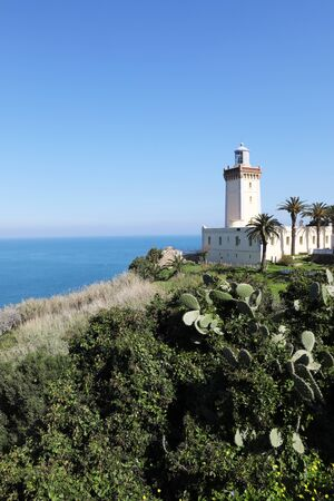 A Vertical of Phare Cap Spartel Lighthouse near Tangier, Morocco Banque d'images