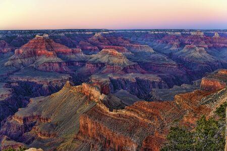 The Grand Canyon National Park, Arizona after sunset Stock Photo