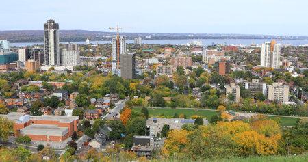An aerial of Hamilton, Canada in the autumn