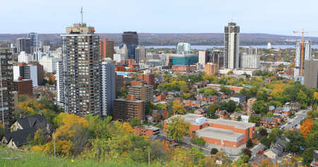 An aerial of Hamilton, Canada in the fall