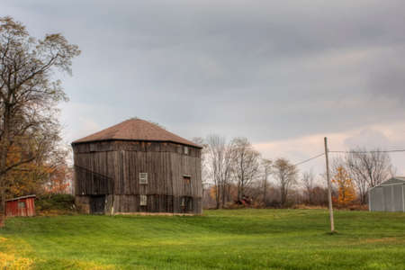 A Round Barn in Ohio, United States. Round barn is a historic barn design that could be octagonal, polygonal, or circular