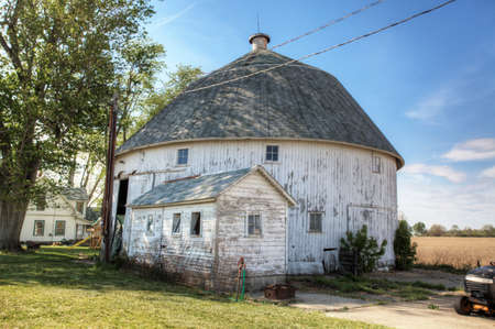 A Round Barn in Indiana, United States. Round barn is a historic barn design that could be octagonal, polygonal, or circular Editorial