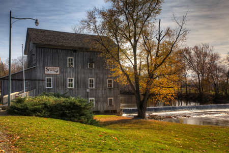 View of Stockdale Mill in Indiana, United States.  It was built between 1855 and 1857 and restored in 2002