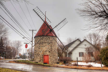 The Moulin Grenier, a Stone Windmill from Quebec, Canada. Built 1820 on a French design