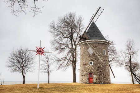 The Moulin des Sulpiciens, a Stone Windmill from Quebec, Canada. Built 1709n on a French design