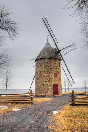 A Vertical of Pointe-du-Moulin, a Stone Windmill from Quebec, Canada. Built 1702 on a French design