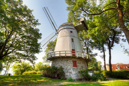 A View of Moulin Fleming, a Stone Windmill from Quebec, Canada. Built 1827 on a French design