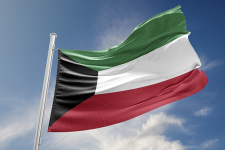 Kuwait flag is waving at a beautiful and peaceful sky in day time while sun is shining. 3D Rendering Stock Photo