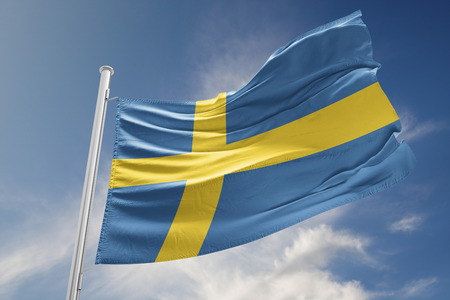 Swedish flag is waving at a beautiful and peaceful sky in day time while sun is shining. 3D Rendering