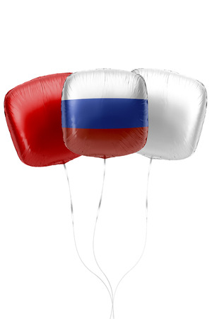Three balloons represent Russia flag colors are floating on a white surface with strings attached. 3D Rendering.