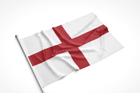 English flag is laying on a white surface with flag pole attached. 3D Rendering. Stock Photo
