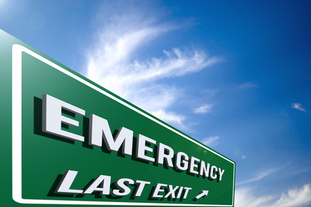 Hi-res 3D highway Emergency road sign against a blue sky with cloudscape. 3D rendering.