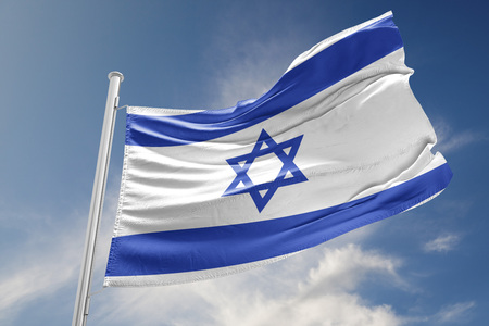 Israel flag is waving at a beautiful and peaceful sky in day time while sun is shining. 3D Rendering Zdjęcie Seryjne