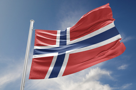 norway flag: Norway flag is waving at a beautiful and peaceful sky in day time while sun is shining. 3D Rendering Stock Photo