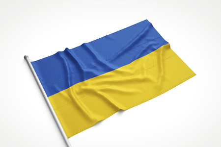 Ukrainian flag is laying on a white surface with flag pole attached. 3D Rendering. Stock Photo