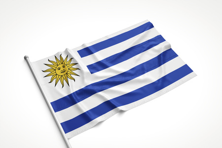 bandera de uruguay: Uruguay flag is laying on a white surface with flag pole attached. 3D Rendering.