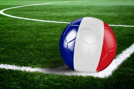 Hoge kwaliteit maken van voetbal klaar om te schieten op voetbalveld op groene grassen. 3D-rendering.