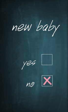 x marks the spot: Conceptual text New Baby written with chalk on a dirty blackboard and no box is selected with red cross sign. Stock Photo