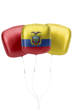 Three balloons represent Ecuador flag colors are floating on a white surface with strings attached. 3D Rendering.