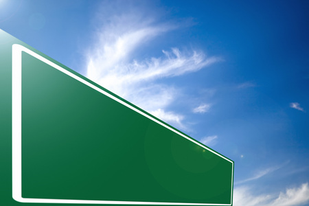 res: Empty hi-res 3D highway road sign against a blue sky with cloudscape. 3D rendering.