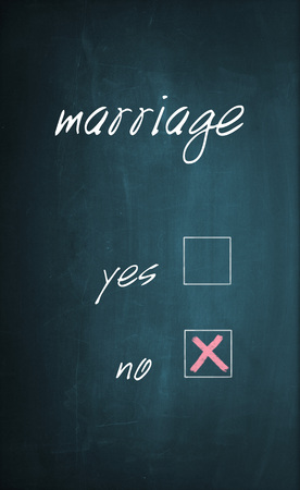 x marks the spot: Conceptual text Marriage written with chalk on a dirty blackboard and no box is selected with red cross sign. Stock Photo